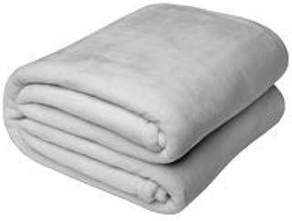 American Blanket Company, Luxurious Luster Loft Fleece Blanket, Soft and Warm California King Blanket in Light Gray