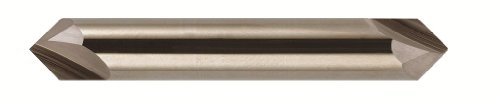 Bassett - B10026 MCH-2D Series Solid Carbide End Mill, Uncoated (Bright) Finish, 2 Flute, 90 Degrees Profile Angle, Chamfer End, 0.15