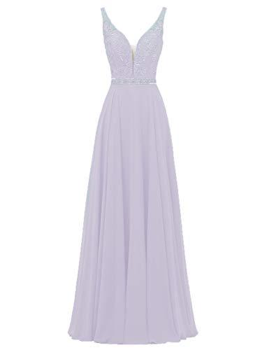 HUINI Damen Brautjungfernkleider Lang Chiffon Abendkleider Hochzeitskleider V-Ausschnitt Ballkleider Übergrößen Lila 54