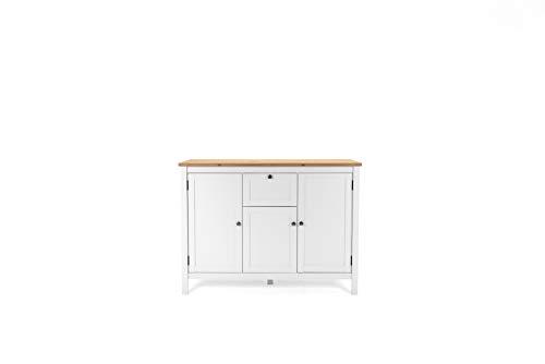 Landhaus Sideboard (B/H/T: 120 x 90 x 40 cm) 3 Rahmentüren, 1 Schubkasten | Stollenfüße | Metallbeschläge antik | Magnetverschluss