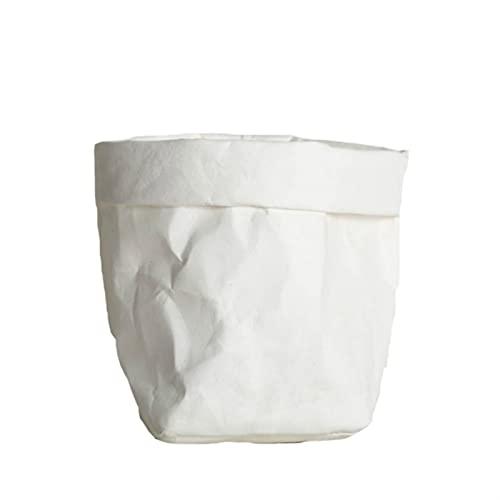 Papieraufbewahrungstaschen aus Obst Gemüse-Knoblauch-Zwiebelpflanze Blume Potentasche Korb Home Aufbewahrungstaschen (Color : White, Size : Large)