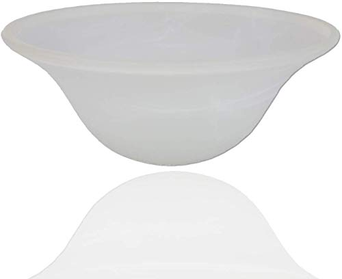 Alabaster White Glass Lamp Shade Replacement for Floor Lamp - Lamp Shade fro Floor Lamps - Glass Lamp Shade - Floor Lamp Shade - Light Fixture Replacement Glass New Safe Ship Packaging (White Marble)