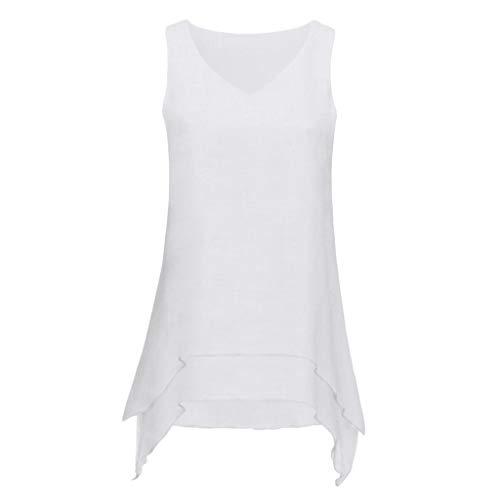 YUHUISTART T-Shirt Damen Casual Asymmetrisch Plus Size Sleeveless Blusen V-Ausschnitt Tunika-Hemd mit Rüschensaum Tops Weste Hemd(Weiß,EU-44/CN-S)(Weiß,EU-44/CN-S)
