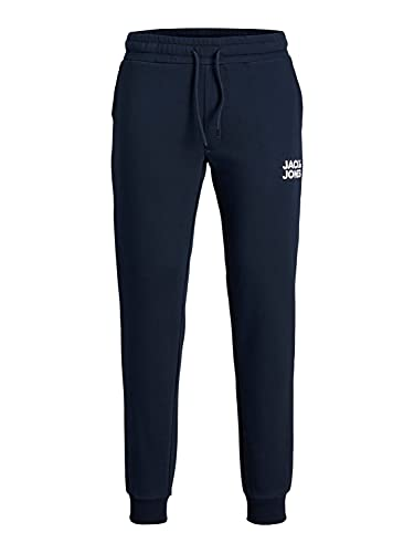 Mens Basic Jogger Sports Training Pants Elastic Waistband Comfortable Slim Fit Sweatpants Pockets JPSTGORDON, Couleurs:Bleu-Marine, Taille de Pantalon:XS