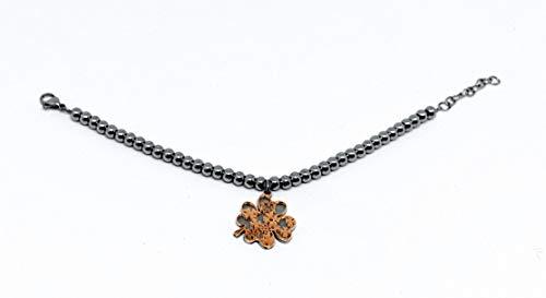 OTTAGONO Pulsera de acero inoxidable de bolas con colgante central doble elaborado en oro rosa (JYB0014)