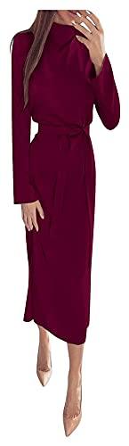 WEIWEIMITE Vestido de manga larga para mujer, estilo informal, color liso, con lazo en la cintura (color vino, tamaño: XL)