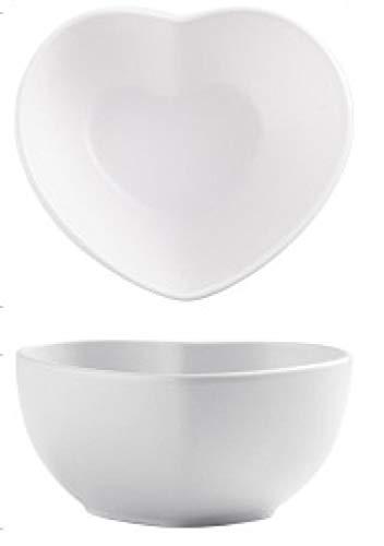Plato creativo de amor nórdico de 8 pulgadas, plato de pareja en forma de corazón, bandeja para pasteles, plato para aperitivos-Tazón de sopa blanco de 8.5 pulgadas_6 piezas