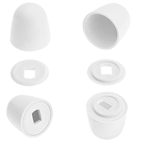 Canomo 4 Packs Universal Plastic Round Toilet Push-On Bolt Caps, Almond, White, 1.44 Inch Height