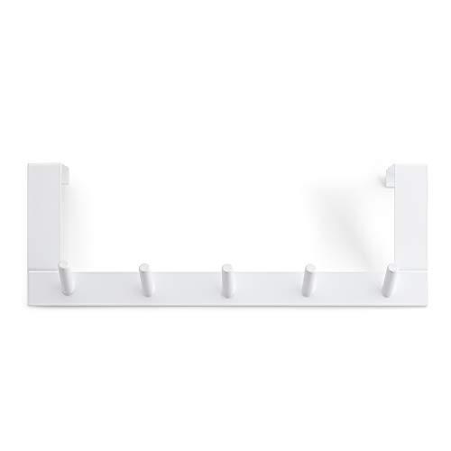 Rayen Blanco Colgador 5 Ganchos | para Puertas | Multifuncional | Ahorro Espacio, Acero Pintado, 36x12,5x4 cm ✅