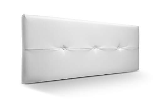 Cabecero de Madera Jazmin, tapizado Acolchado en Polipiel Color Blanco. Cabeceros Madera para Dormitorio | Cama Matrimonio | Cama Juvenil | Camas de 140 cm, 135 cm, 120 cm