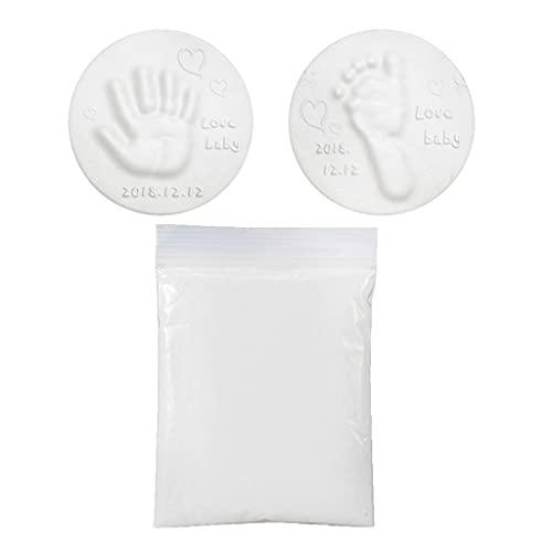 JIUYECAO Arcilla suave de 20 g para hacer huellas de mano (al final, secado al aire blanco, arcilla suave 20 g/bolsa de adorno de bebé recuerdo huella huella huella