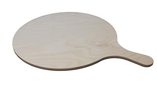 DEKOFANT Pizzabrett rund 30 x 1 cm Pizzaschaufel Brotschaufel Pizzaschieber mit Griff