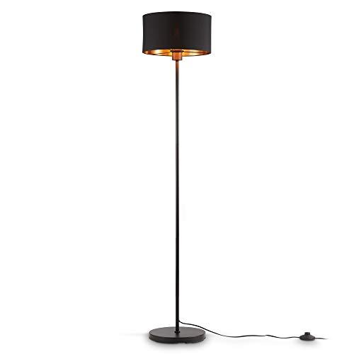 B.K.Licht I lámpara de pie de tela negro-oro I E27 I 1 llama I pantalla de tela 30 cm I cable de 140 cm con interruptor de pie I sin bombilla