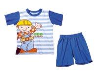 Shortama enfant pyjama bob the builder, bleu/blanc taille 128