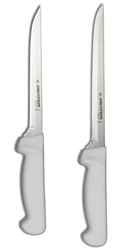 "Dexter-Russell 7"" and 8"" Fillet Knife w/Polypropylene White Handle,Boning Knife, Flexible Fillet Knives for Meat Fish Poultry Chicken,bundle"
