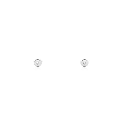 Pendientes Bebe oro blanco primera postura redondo circonita (9kts)