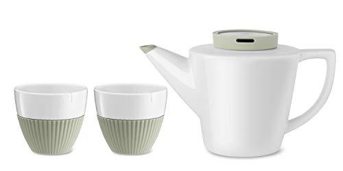 Teekanne mit Teetassen im 3-teiligen Set aus Porzellan, Tee-Service mit 1x Teekanne und 2X Teetassen Weiss und Grün