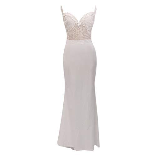 MAYOGO Festliche Kleider für Damen Hochzeit Frauen Elegant Abschlussball Kleider Damen Lang Weiße Brautkleider Hochzeitskleider Spitzenkleid Hochzeit Festival Kleidung Tüllkleid