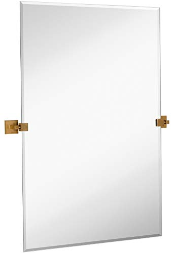 Hamilton Hills Rectangle Square Gold Pivot Mirror | Silver Backed Adjustable Moving -