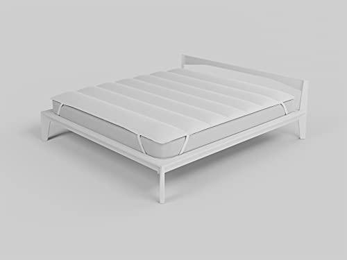 Italian Bed Linen Topper, Microfibra, Bianco, Matrimoniale 160x195cm