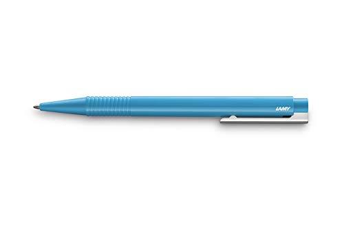 LAMY Bolígrafo logo 204 – Bolígrafo de plástico irrompible en color Pacific con unidad de clip integrada – Con mina grande – Ancho de trazo B