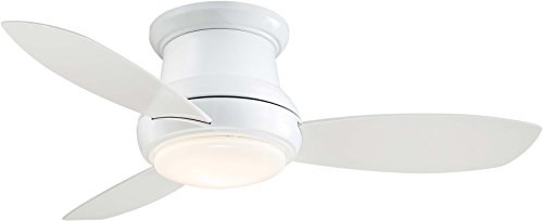 Minka-Aire F518L-WH, Concept II LED White Flush Mount 44' Ceiling Fan with Light & Remote Control