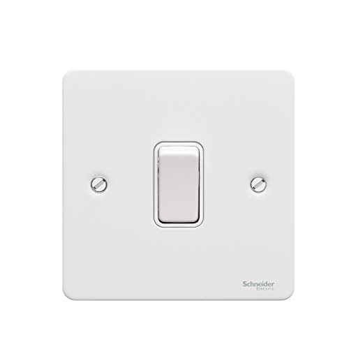 Schneider Electric Ultimate Flat Plate - Single Rocker Light Switch Intermediate 16 AX GU1214WPW Painted White with White Insert