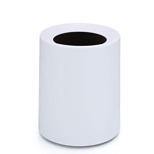Kreative Prägende Matte Trash Can 8L / 12L Abfall-Staub-Lagerbehälter Eimer Korb Domicile Büro Abfalleimer ohne Deckel Bento Lunch Box for Kinder (Farbe: Dunkel Khaki) 1yess (Color : White)