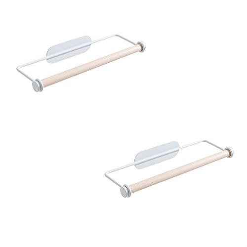 Portarrollos Cocina Toallito de toalla de papel colgante Rollo de hierro forjado Rack de toalla de plástico Envoltura de plástico Rack de almacenamiento adecuado para cocina de cocina para el hogar Po