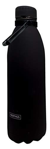 NERTHUS FIH 622 Termo Doble Pared para frios y Calientes Diseño Negra de Acero Inoxidable 1500 ml Libre de BPA, Tapon Hermético, 18/8