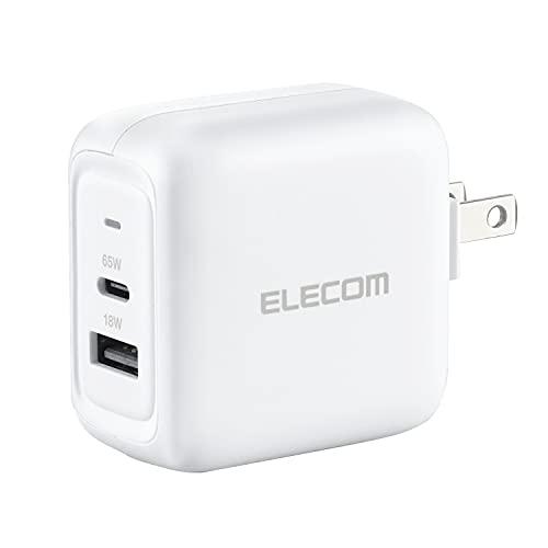 エレコム AC充電器 USB充電器 Gan 65W Type-C(USB-C)1ポート USB-A1ポート USB Power Delivery対応 ホワイト EC-YAC02WH
