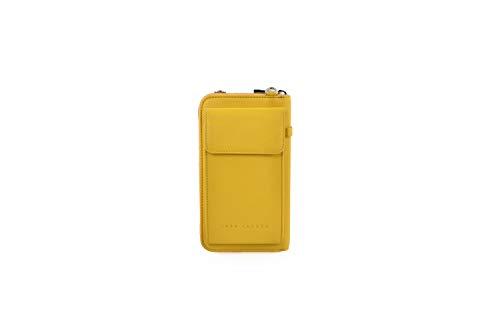 Lara Laurén SS Wallet Geldbörse und Handtasche aus hochwertigem Leder mit verstellbarem langen Tragriemen Maße 19,5 x 11 x 4cm (yellow)