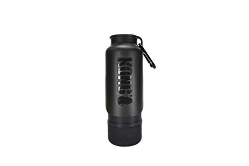 KONG H2O Insulated Dog Water Bottle & Travel Bowl, 25 oz - Black