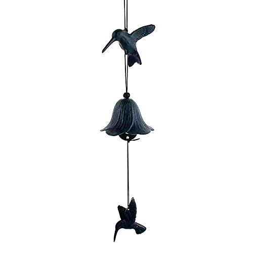 jwj Campana de viento con campanillas de viento para colgar (color: verde, tamaño: 48 x 8 cm)