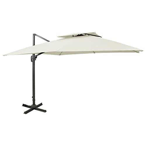 vidaXL Sombrilla Voladiza con Cubierta Doble Parasol Exterior Patio Terraza Protección contra Rayos Ultravioleta Playa Piscina Toldo Arena 300x300 cm