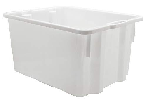 Mobil Plastic Cassa in plastica per alimenti sovrapponibile e impilabile capienza 50 litri con manici - colore Bianco