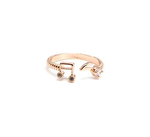 bg174e–Anillo Falange Bout des doigts–de notas musicales Metal oro rosa y piedras circonio–Mode Fantasía