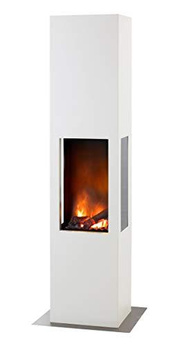 muenkel design Prism Fire L - Opti-Myst Elektrokamin Kaminofen Kamin - Korpus weiß (warm) - mit Heizung - Dekoholz mit Stehrost gezackt