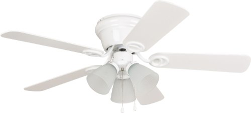 "Craftmade WC42WW5C3F Wyman Organic Flush Mount 42"" Ceiling Fan with 180 Watts Light Kit, 5 MDF Blades, White"