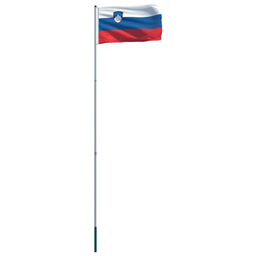 vidaXL Flagge Slowenien Mast Slowenische Nationalflagge Fahne Hissflagge Hißflagge Hissfahne Teleskop Fahnenmast Flaggenmast Flaggenstange Aluminium 6m