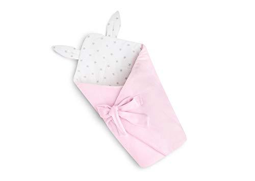 EliMeli Einschlagdecke Babyhörnchen Babynest Babydecke Kuscheldecke Krabbeldecke | Ultraweicher Plüsch Stoff | Hergestellt in EU (Pink - Grey Stars)