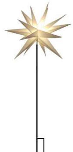 Kunststoffstern Weiß, mit Bodenspieß für außen inkl. LED-Elektrik mit 6-Stunden-Timer, IP44 Trafo, Kabellänge ca. 7m (Leuchtmittel nicht auswechselbar) Ø ca. 60 cm NEU