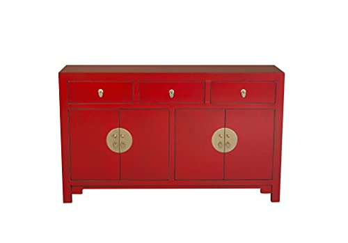 Fine Asianliving Aparador chino Lucky Red W140xD35xH85cm – Colección Orientique Cómoda cómoda de muebles chinos inspirados en Ming Oriental madera pintada a mano asiática 140x85x35cm