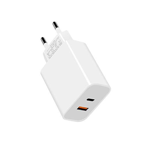 Staright Cargador rápido de Pared de 18 W de Doble Puerto PD USB C y QC3.0 USB A Cargador USB portátil de Viaje Compatible con 12 Pro / 11 Pro/XR/XS/X Huawei Charger