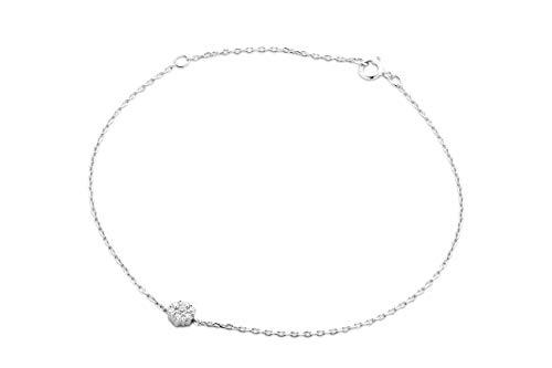 Miore Armband Damen Diamant Armband Kette Weißgold 9 Karat / 375 Gold Elegantes Armband mit Diamanten Brillanten 0.07 Ct, Länge 18 cm Armschmuck
