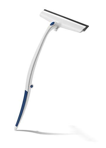 Revo Duschabzieher Fensterwischer, mit langem Griff klappbar, integrierter Aufhänger an Glaskante, austauschbare Profi-Gummilippe weiß/blau Kunststoff