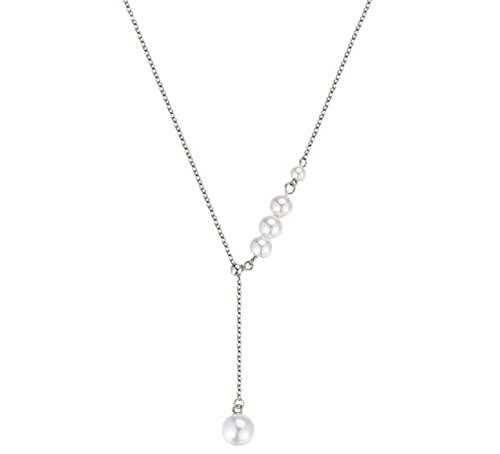Collar de oro de 18 quilates Collar de perlas de borla de plata esterlina Cadena de clavícula femenina Luz de lujo Diseño de nicho Sense Colgante de oro rosa Mujer