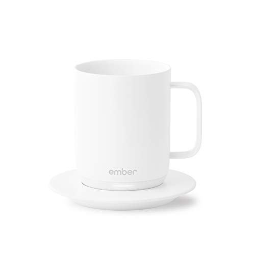 Ember Temperature Control Smart Mug, 10 Ounce, 1-hr Battery Life, White - App Controlled Heated...
