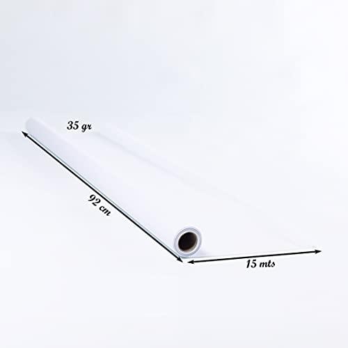 Papel para calcar patrones de costura, bobina de papel celulosa blanco de 92 cm x 15 mts ideal para patrones, manualidades, pintar, envolver y embalaje. Papel trasparente y muy resistente.