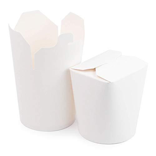 Extiff - Packung mit 50 Kartons in weißem Karton, Nudelbox für Nudeln, Pasta, Fertiggerichte, asiatische und orientalische Gerichte, Takeaway (480 ML)
